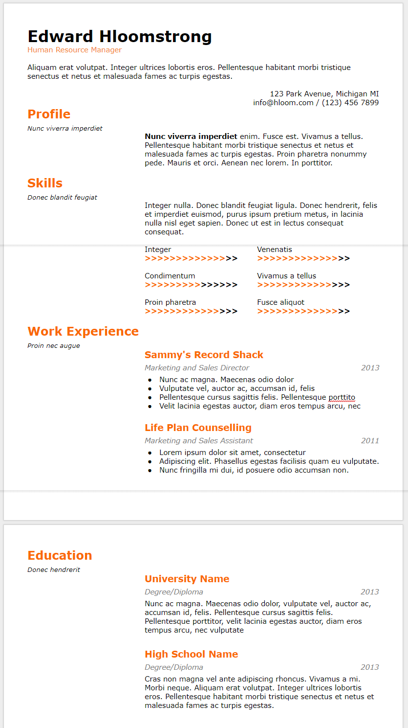 10 Google Docs Resume Template In 2019 Download Best Cv Themes