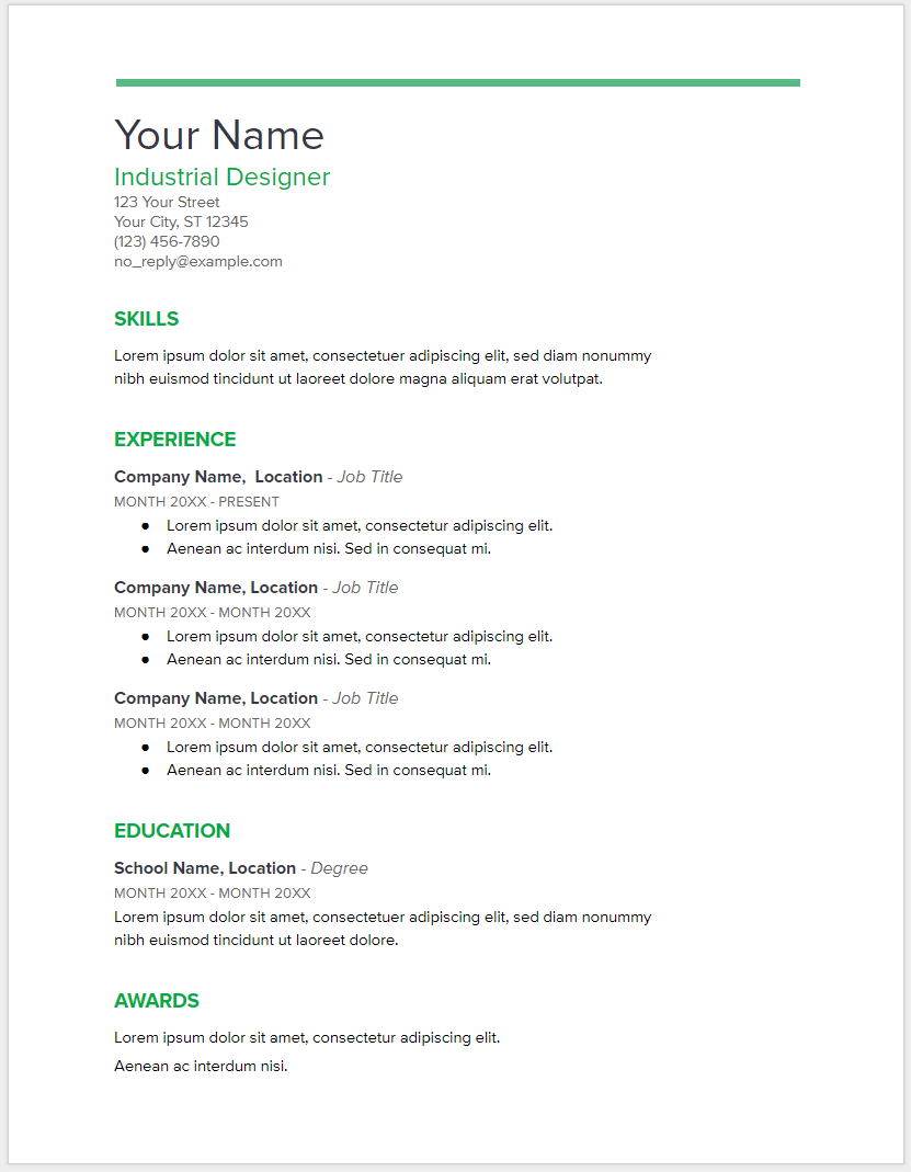 10  google docs resume template in 2019