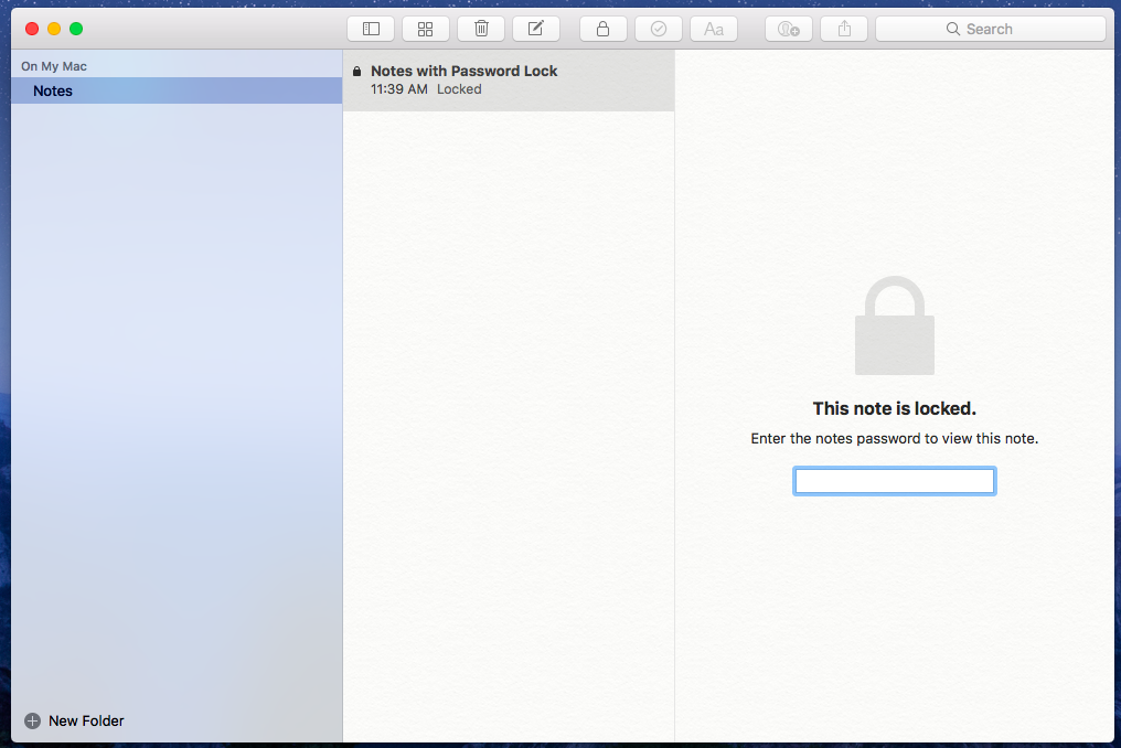 Create Notes with password in MacBook