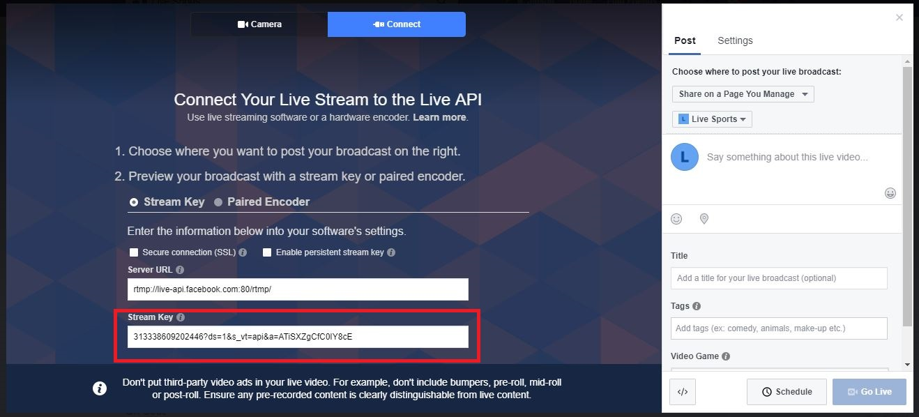 Facebook live getting stream key