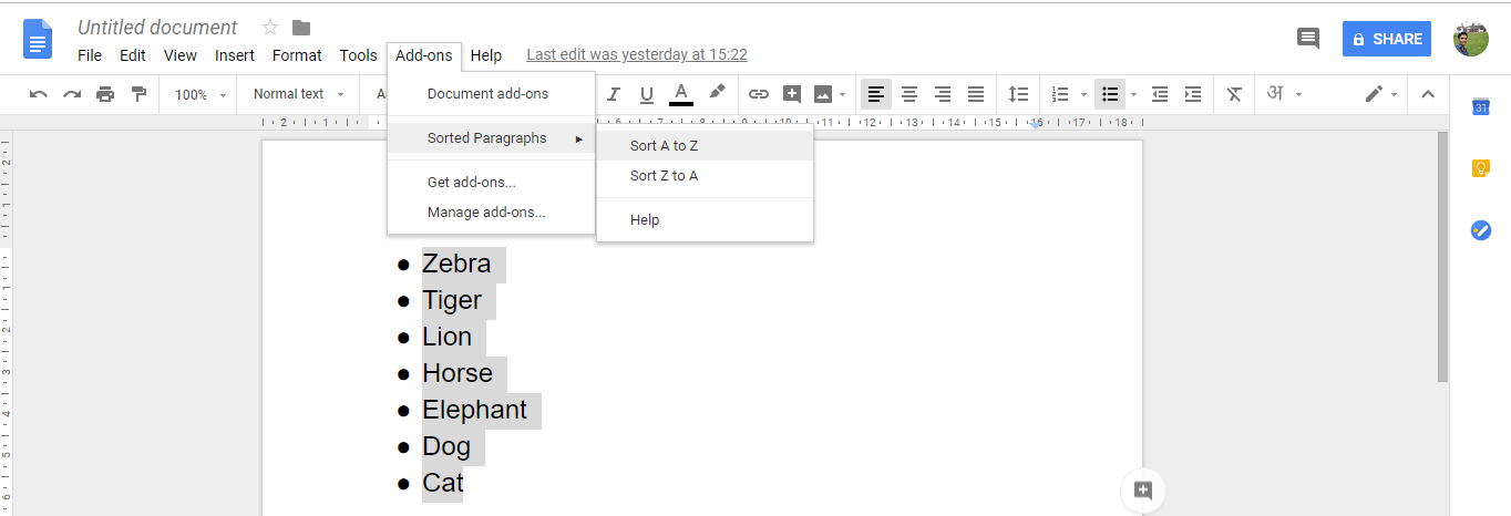 How to alphabetize in google docs? Easy Steps with Screenshots