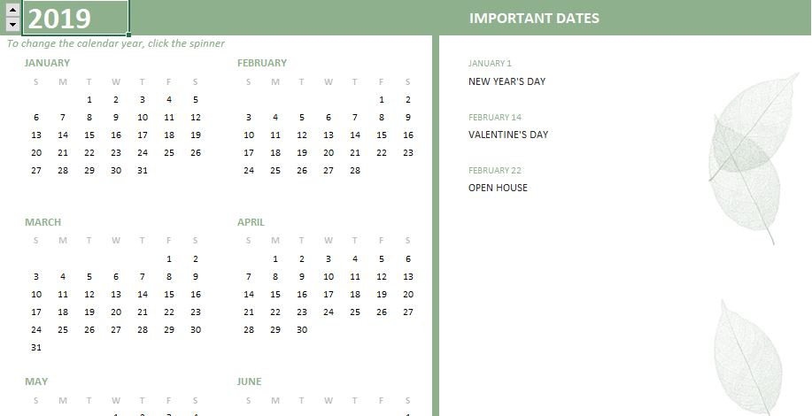 calendar 2019 theme