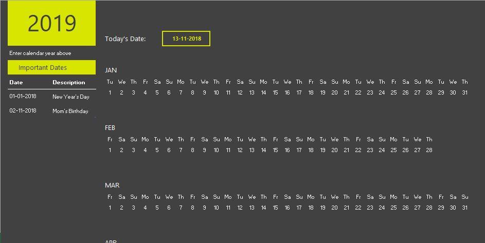 Excel calendar theme 2019