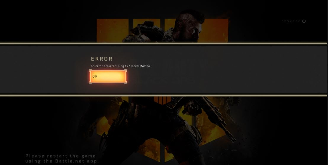 An Error Occurred: King 177 Jaded mamba - Call of Duty Black Ops 4