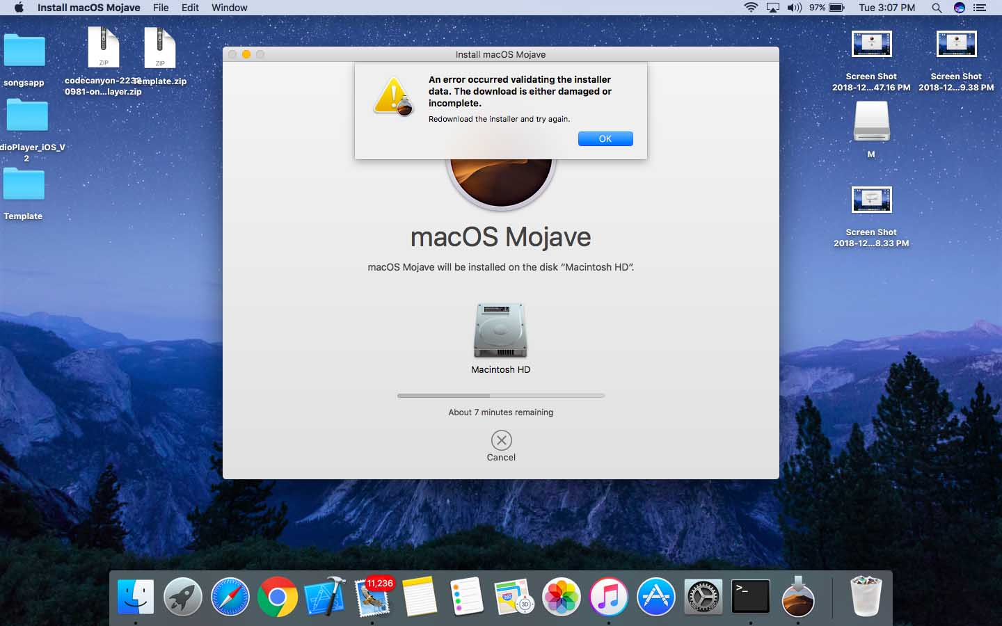 An Error Occurred Validating the installer data - macOS Majove