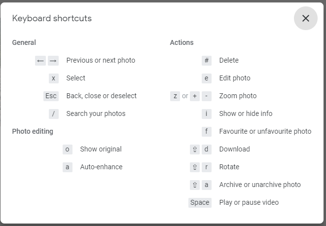 Google Photos keyboard shortcuts