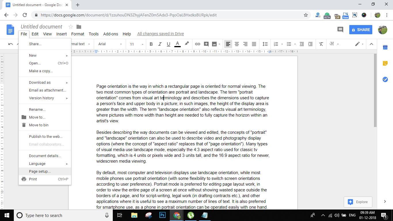 ChangePortrait orientation toLandscape Orientation in Google Docs