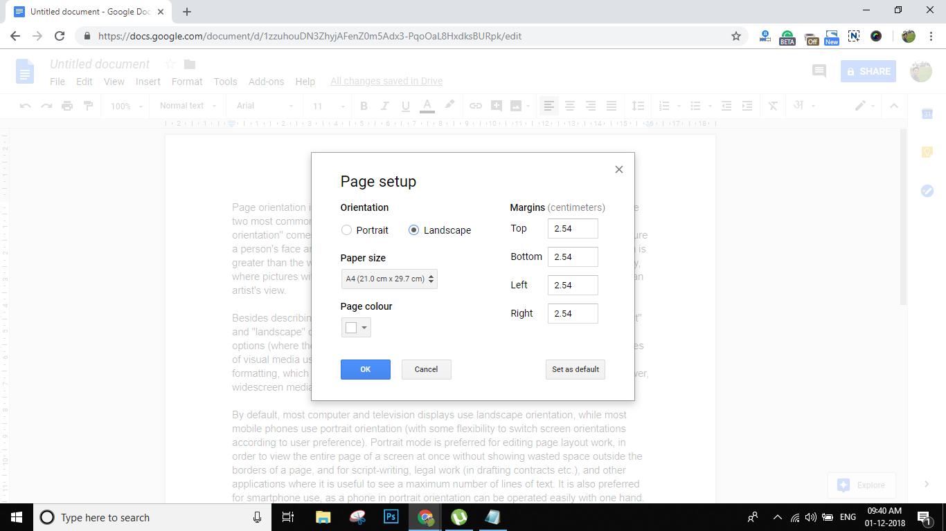 Google Docs Landscape Orientation Page