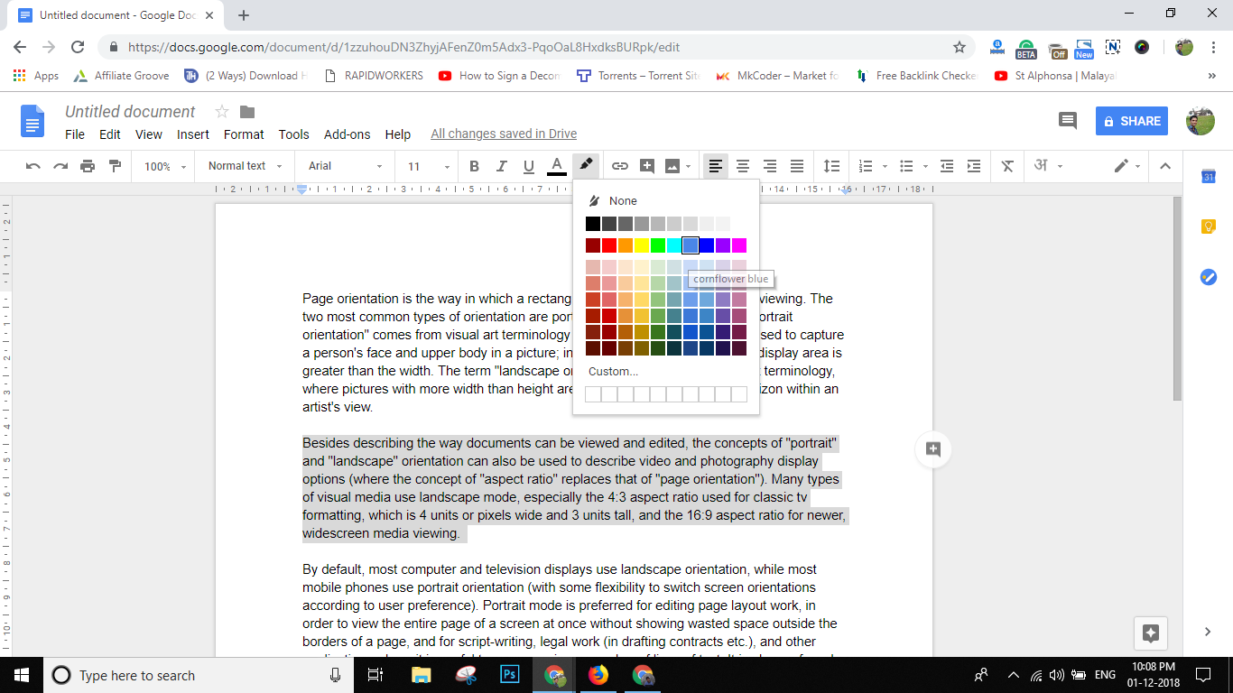 But In The New Version Of Google Docs Highlight Option Was Shifted To Brush Button Click On Pencil Shown Below