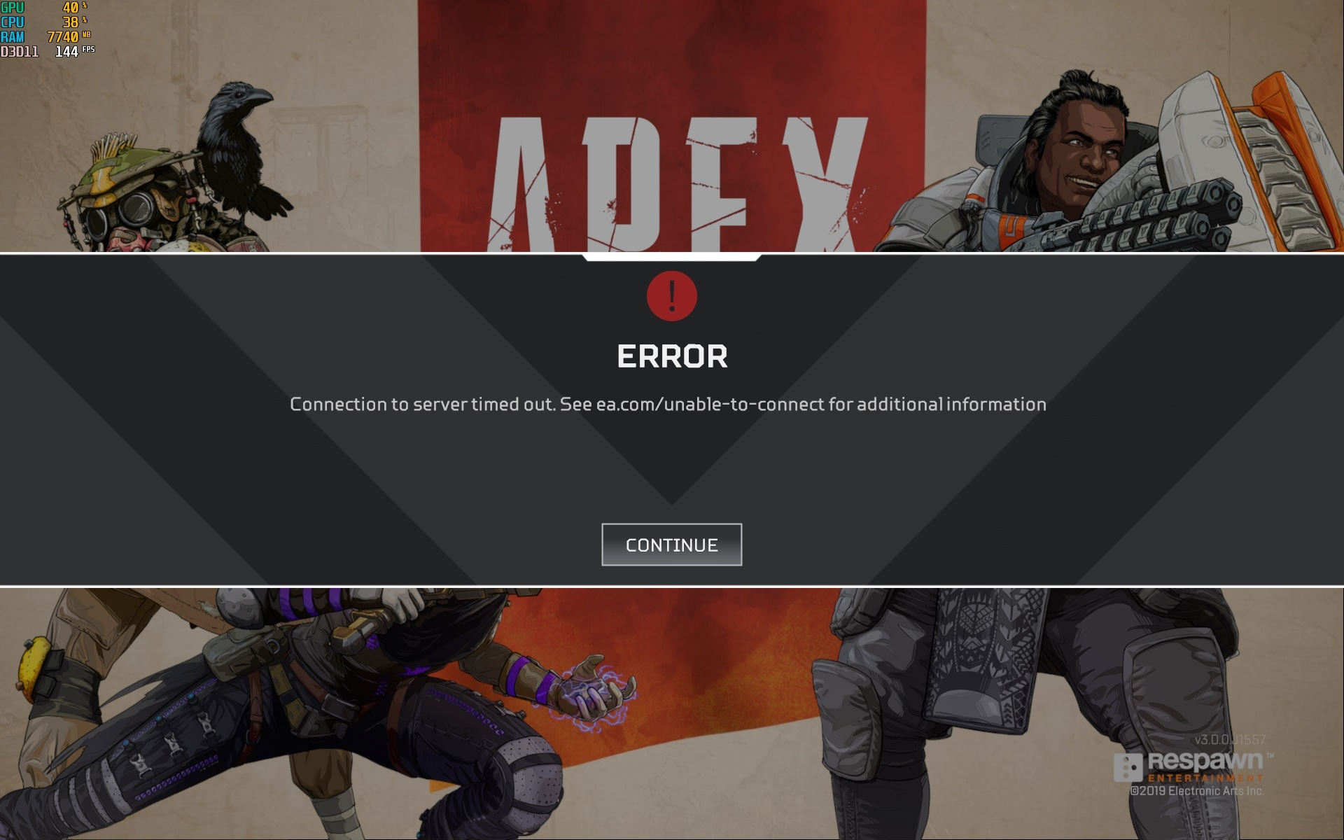 Connection to server timed out - Apex Legends Error