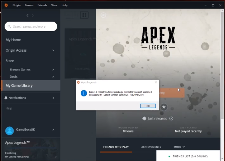 Error: A redistributable package (DirectX) was not installed - Apex Legends