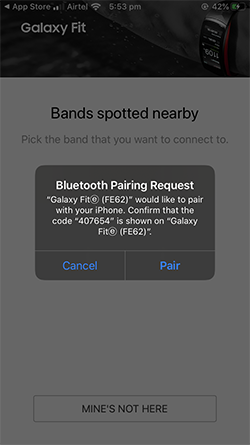 Galaxy Fit e Band pairing iphone