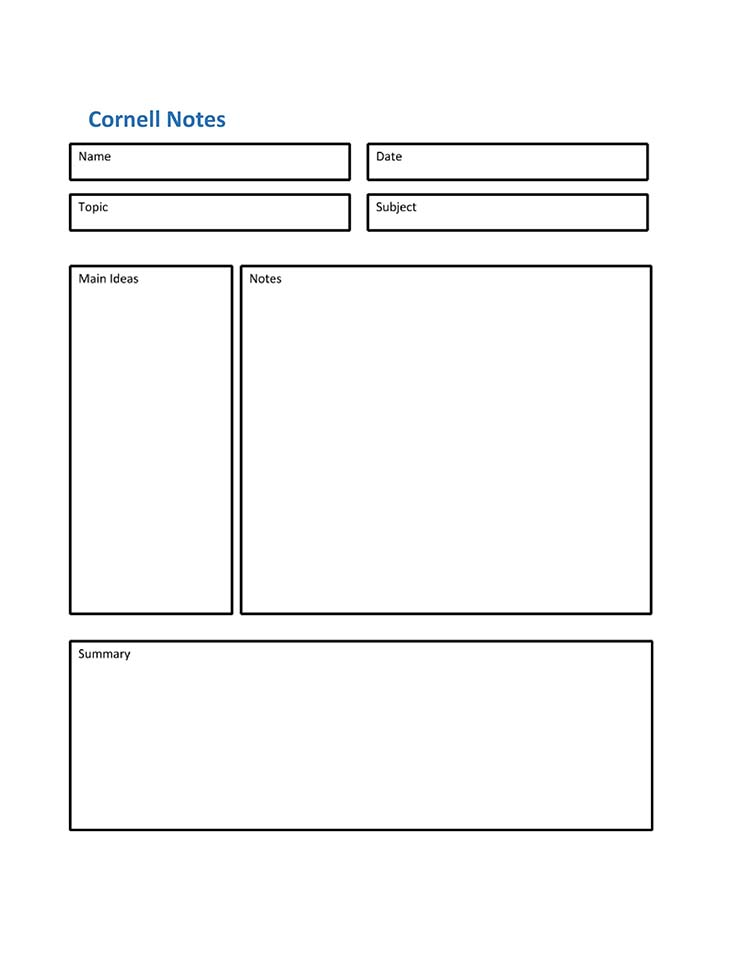 Cornell notes template MS Word