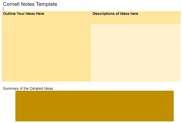 Ideas and Descriptions Cornell notes template