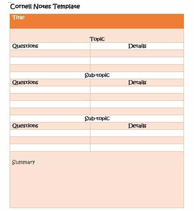 Cornell notes template for Top and Subtopic contents