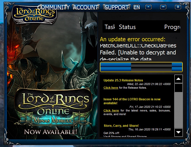 An update error Occurred LOTRO