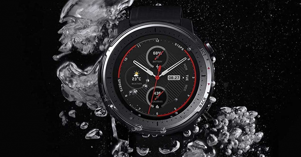 Amazfit Stratos 3 in the water