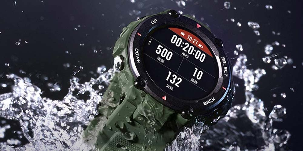 Amazfit T-Rex smartwatch with water