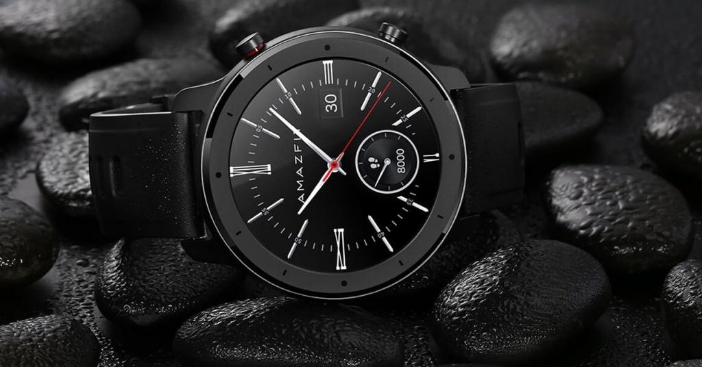 Xiaomi Amazfit GTR smartwatch with black background