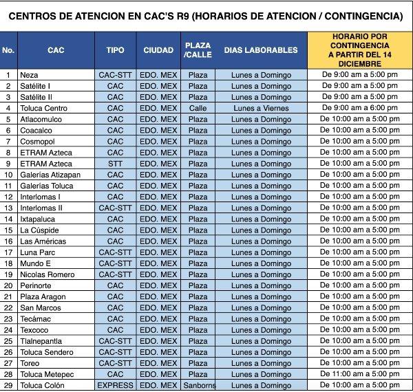 telcel contingency schedules