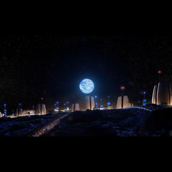 images that show what the first city on the moon would look like