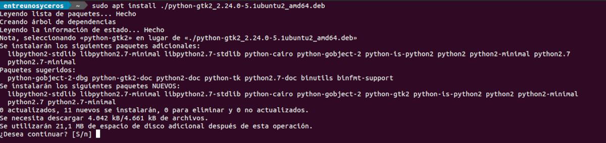 install python gtk2