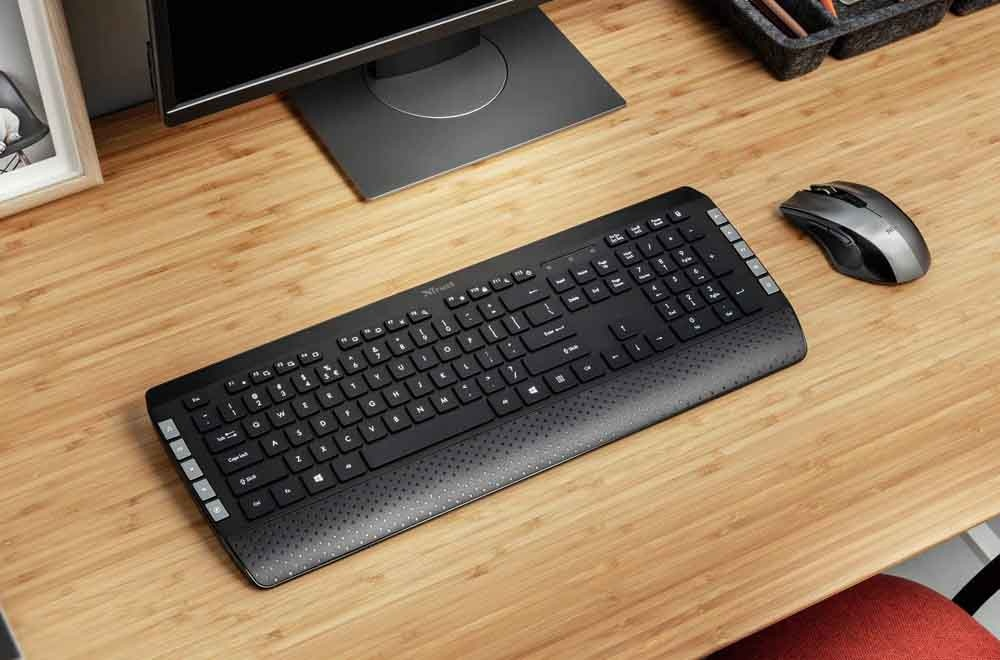wireless keyboard and mouse on a table