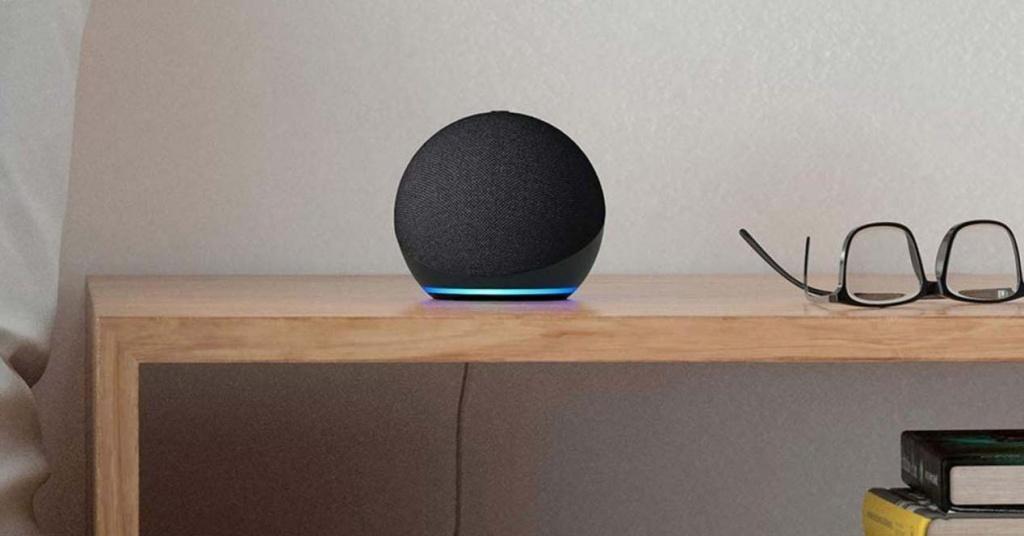 Echo Dot speaker on a table