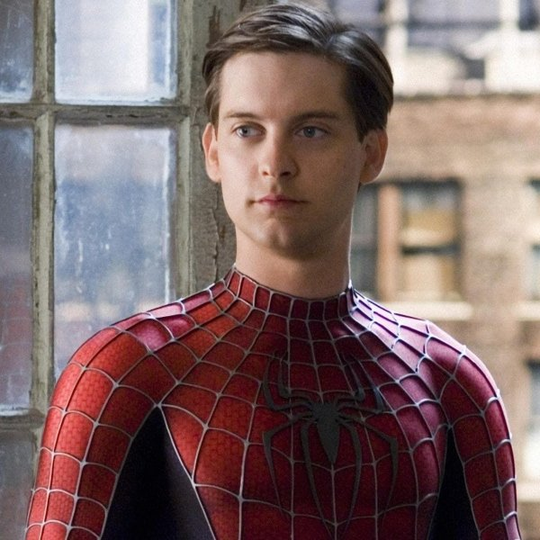 Tobey Maguire in Spider-Man 2 Peter Parker costume