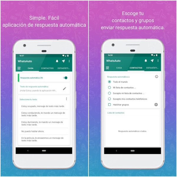 WhatsAuto application from Google Play to activate automatic responses in WhatsApp