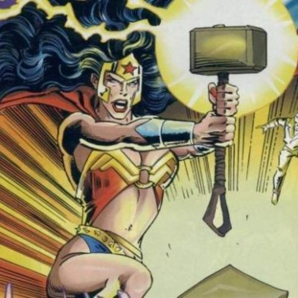 Wonder Woman lifts Thor's hammer.  Avengers vs Justice League
