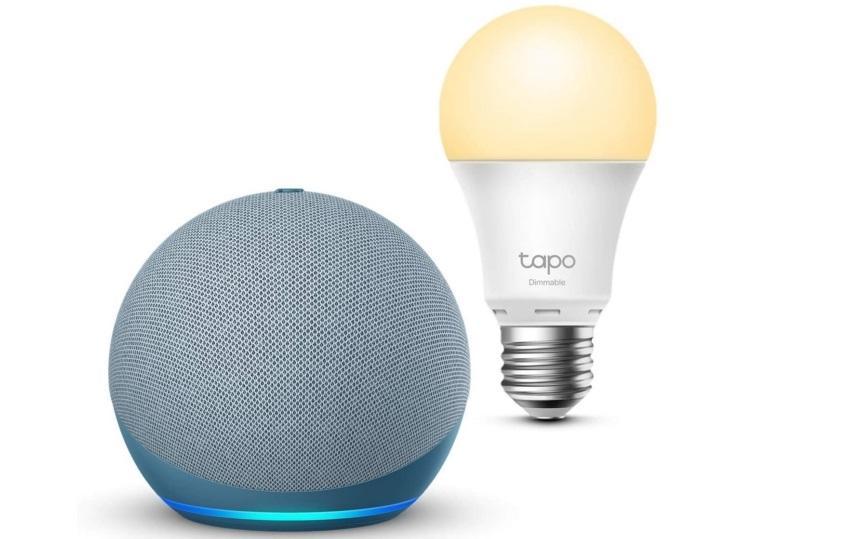 Echo Dot (4th generation), Gray blue + TP-Link Cap
