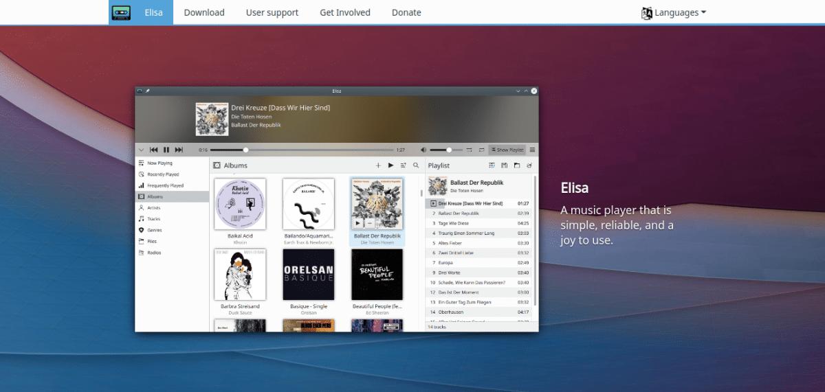 Elisa's website as part of KDE Gear 21.04.2